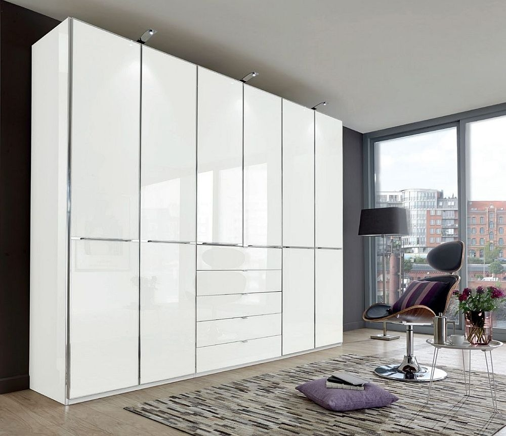 Wiemann VIP Shanghai2 6 Door Wardrobe in White Glass - W 300cm