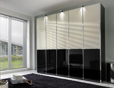 Wiemann VIP Shanghai 4 Glass Door Sliding Wardrobe in Black Bottom and Magnolia Top - W 330cm