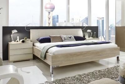 Wiemann VIP Shanghai 5ft King Size Faux Leather Cushion Bed in Rustic Oak and Magnolia - 160cm x 200cm