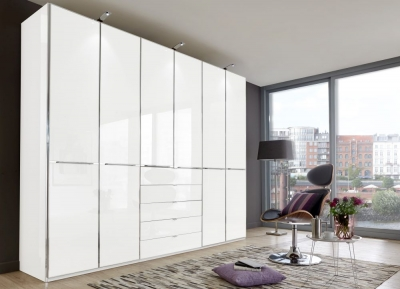 Wiemann VIP Shanghai 6 Door 4 Drawer Combi Wardrobe in White - W 300cm
