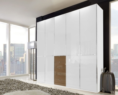 Wiemann VIP Shanghai 7 Door 10 Drawer Combi Wardrobe in White and Sahara - W 350cm