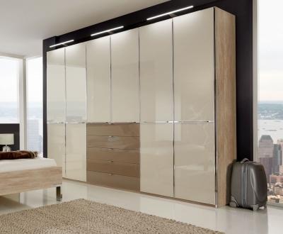Wiemann VIP Shanghai 8 Door 8 Sahara Glass Drawer Combi Wardrobe in Rustic Oak and Magnolia - W 400cm
