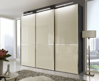 Wiemann VIP Shanghai 3 Door Sliding Wardrobe in Black and Magnolia Glass - W 250cm