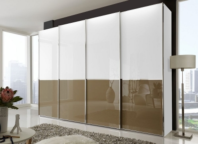 Wiemann VIP Shanghai 4 Door Sliding Wardrobe in White and Sahara Glass - W 330cm