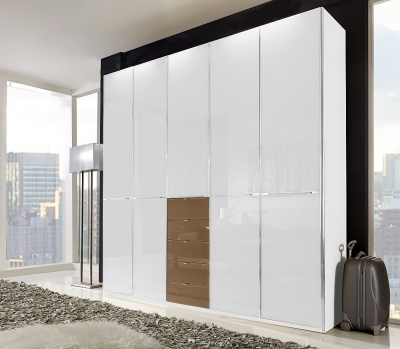 Wiemann VIP Shanghai 5 Door 4 Sahara Glass Drawer Wardrobe in White Glass - W 250cm