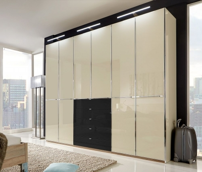 Wiemann VIP Shanghai 6 Door 4 Black Glass Drawer Wardrobe in White and Magnolia Glass - W 300cm