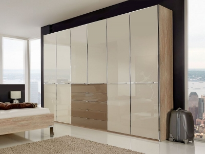 Wiemann VIP Shanghai 6 Door 4 Sahara Glass Drawer Wardrobe in Oak and Magnolia Glass - W 300cm