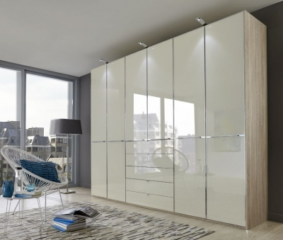 Wiemann VIP Shanghai 6 Door Wardrobe in Oak and Magnolia Glass - W 300cm