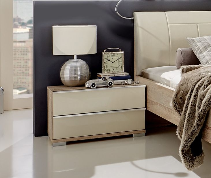 Wiemann VIP Shanghai 2 Drawer Bedside Cabinet in Rustic Oak and Magnolia Glass