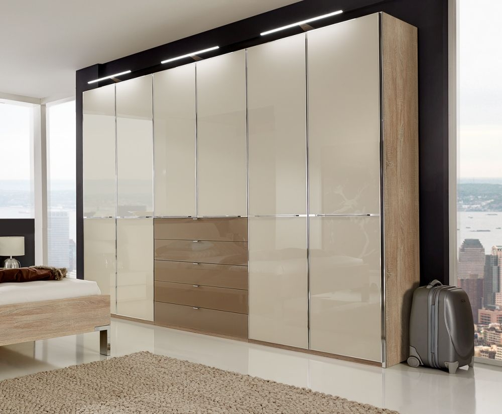 Wiemann VIP Shanghai 3 Door 5 Sahara Glass Drawer Combi Wardrobe in Rustic Oak and Magnolia - W 150cm
