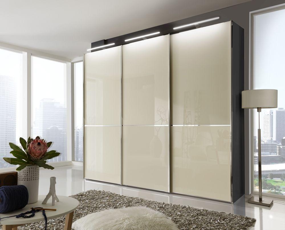 Wiemann VIP Shanghai 3 Door Sliding Wardrobe in Black and Magnolia - W 250cm