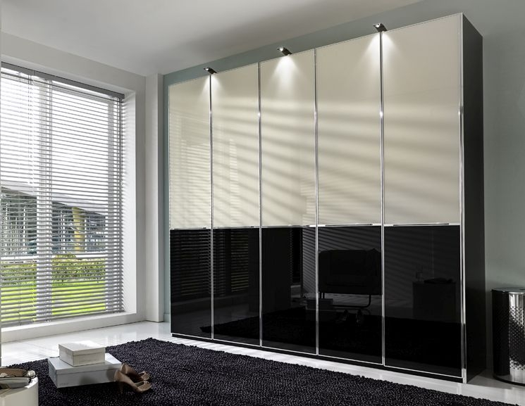 Wiemann VIP Shanghai 3 Glass Door Sliding Wardrobe in Black Bottom and Magnolia Top - W 280cm