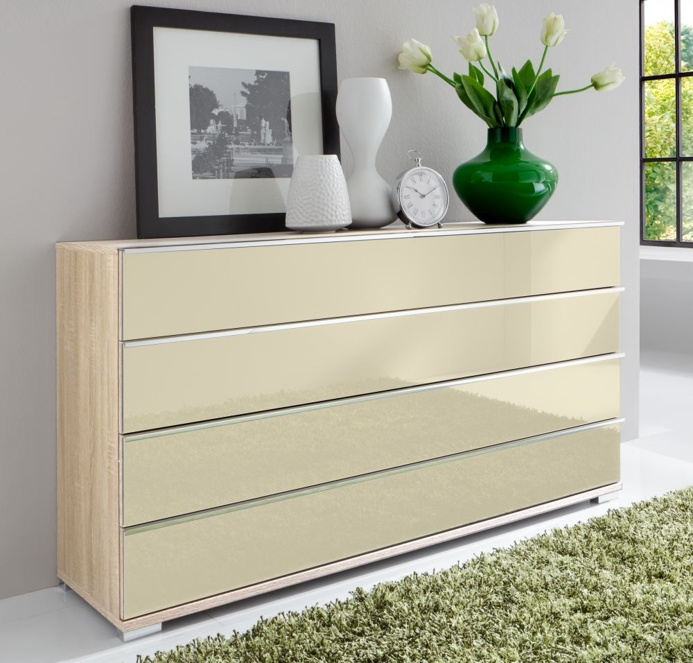Wiemann VIP Shanghai 4 Drawer Large Chest in Rustic Oak and Magnolia Glass