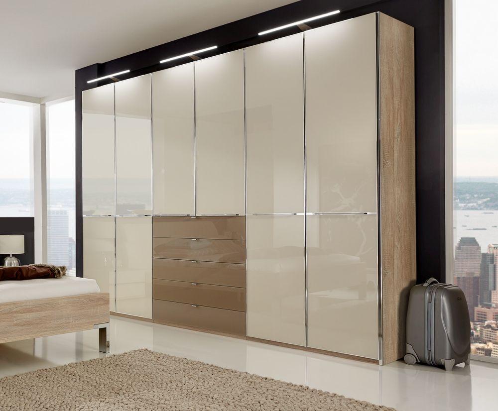 Wiemann VIP Shanghai 6 Door 5 Sahara Glass Drawer Combi Wardrobe in Rustic Oak and Magnolia - W 300cm