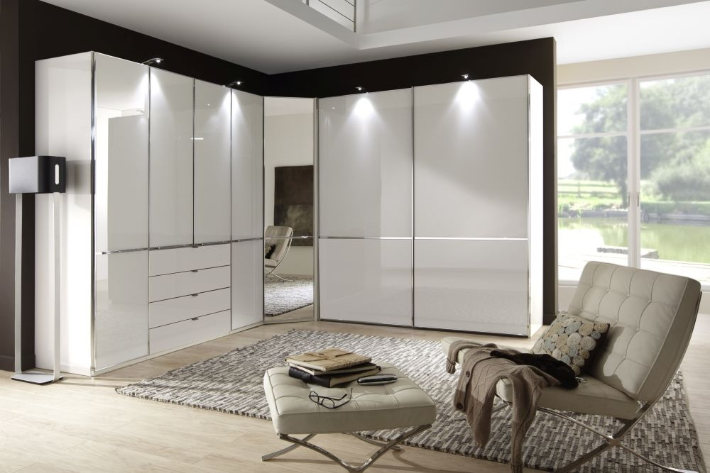 Wiemann VIP Shanghai 7 Door 4 Drawer L Shaped Wardrobe in White - W 493cm
