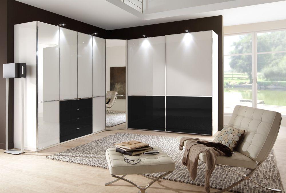 Wiemann VIP Shanghai 7 Door 4 Drawer L Shaped Wardrobe in White and Black - W 493cm