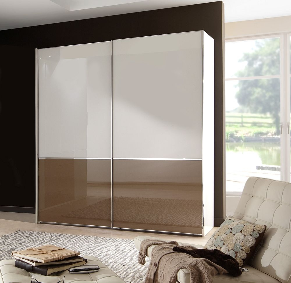Wiemann VIP Shanghai 2 Door Sliding Wardrobe in White and Sahara Glass - W 150cm