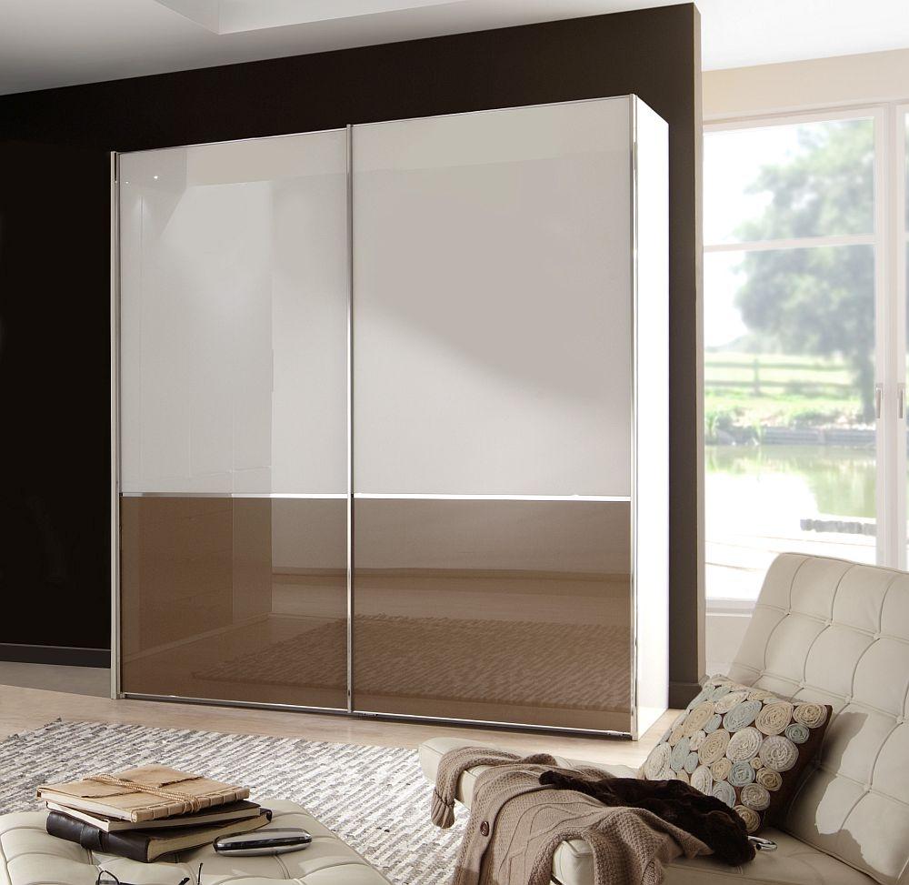 Wiemann VIP Shanghai 2 Door Sliding Wardrobe in White and Sahara Glass - W 150cm