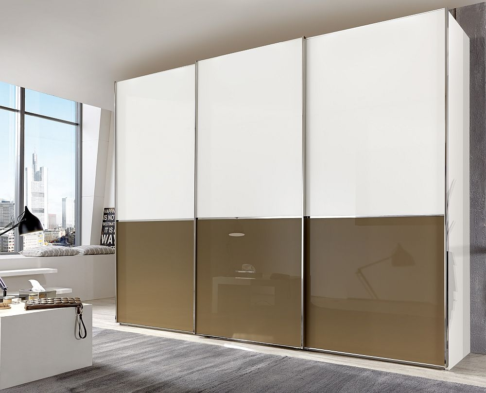 Wiemann VIP Shanghai 3 Door Sliding Wardrobe in White and Sahara Glass - W 300cm