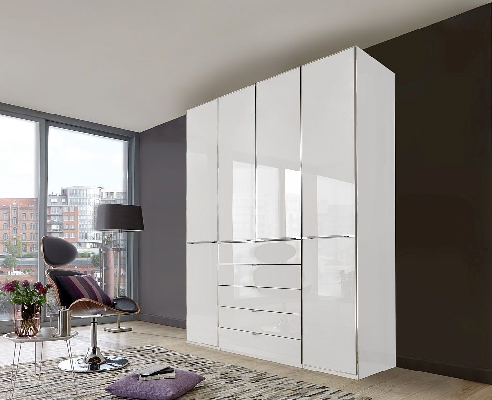 Wiemann VIP Shanghai 4 Door Wardrobe in White Glass - W 200cm