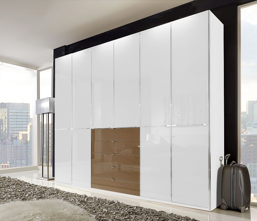 Wiemann VIP Shanghai 6 Door 4 Sahara Glass Drawer Wardrobe in White Glass - W 300cm