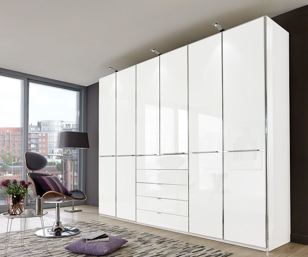 Wiemann VIP Shanghai 6 Door Wardrobe in White Glass - W 300cm