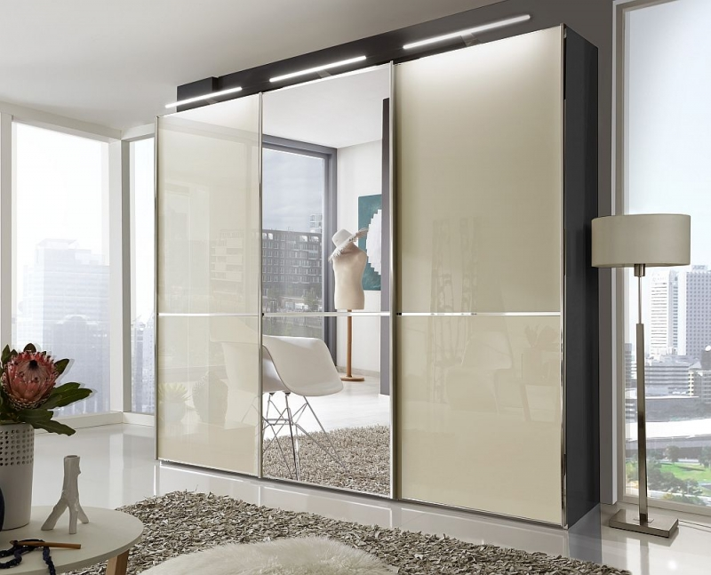 Wiemann VIP Shanghai 3 Door Mirror Sliding Wardrobe in Black and Magnolia Glass - W 250cm
