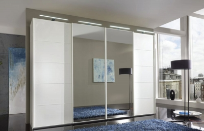 Wiemann VIP Westside2 3 Door 1 Mirror 5 Panel Sliding Wardrobe in White - W 250cm D 67cm