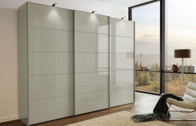 Wiemann VIP Westside2 2 Door 1 Left Glass 5 Panel Sliding Wardrobe in Pebble Grey - W 150cm D 67cm