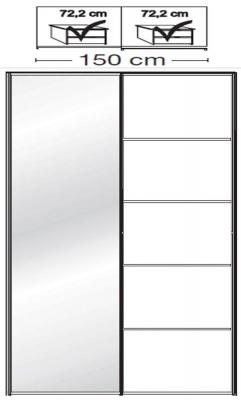 Wiemann VIP Westside2 2 Door 1 Left Mirror 5 Panel Sliding Wardrobe in White - W 150cm D 67cm