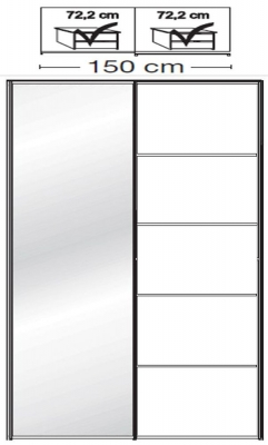 Wiemann VIP Westside2 2 Door 1 Left Mirror 5 Panel Sliding Wardrobe in White - W 150cm D 79cm
