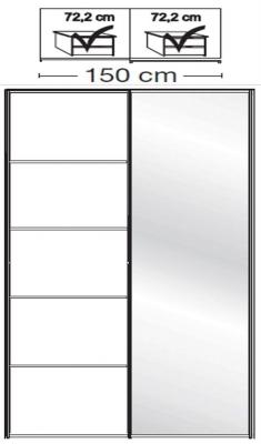 Wiemann VIP Westside2 2 Door 1 Right Mirror 5 Panel Sliding Wardrobe in White - W 150cm D 67cm