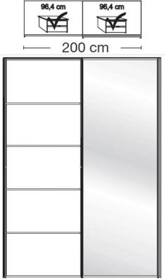 Wiemann VIP Westside2 2 Door 1 Right Mirror 5 Panel Sliding Wardrobe in White - W 200cm D 79cm
