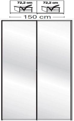 Wiemann VIP Westside2 2 Mirror Door 5 Panel Sliding Wardrobe in White - W 150cm D 67cm