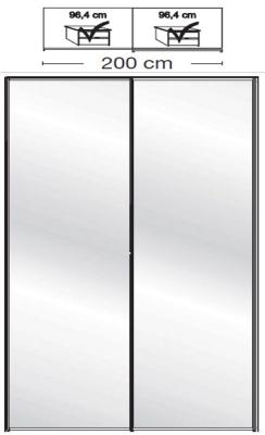 Wiemann VIP Westside2 2 Mirror Door 5 Panel Sliding Wardrobe in White - W 200cm D 67cm