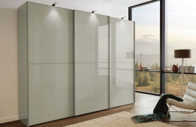 Wiemann VIP Westside2 3 Door 1 Glass 2 Panel Sliding Wardrobe in Pebble Grey - W 225cm D 67cm