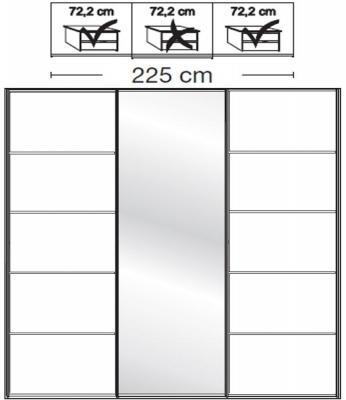 Wiemann VIP Westside2 3 Door 1 Mirror 5 Panel Sliding Wardrobe in White - W 225cm D 79cm
