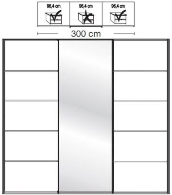 Wiemann VIP Westside2 3 Door 1 Mirror 5 Panel Sliding Wardrobe in White - W 300cm D 67cm