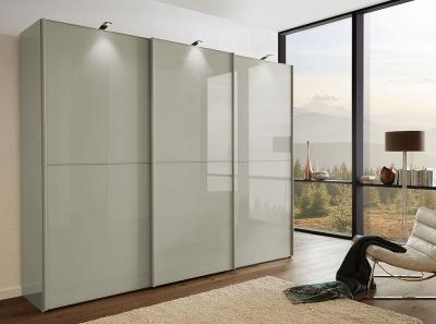 Wiemann VIP Westside2 3 Door Sliding Wardrobe with 2 Panel in Pebble Grey Glass - W 250cm