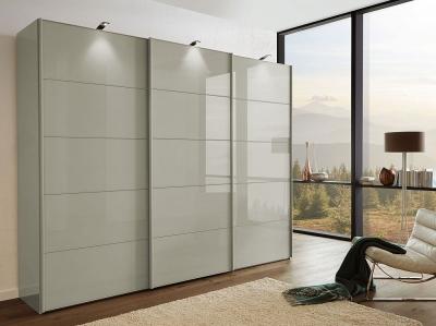 Wiemann VIP Westside2 3 Door Sliding Wardrobe with 5 Panel in Pebble Grey Glass - W 250cm