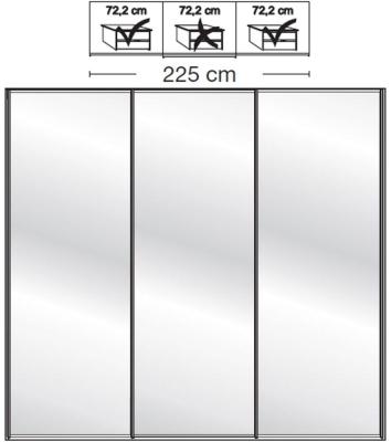 Wiemann VIP Westside2 3 Mirror Door 5 Panel Sliding Wardrobe in White - W 225cm D 67cm