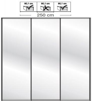 Wiemann VIP Westside2 3 Mirror Door 5 Panel Sliding Wardrobe in White - W 250cm D 67cm