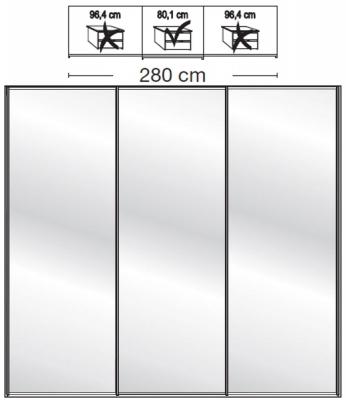 Wiemann VIP Westside2 3 Mirror Door 5 Panel Sliding Wardrobe in White - W 280cm D 79cm