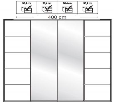 Wiemann VIP Westside2 4 Door 2 Mirror 5 Panel Sliding Wardrobe in White - W 400cm D 79cm