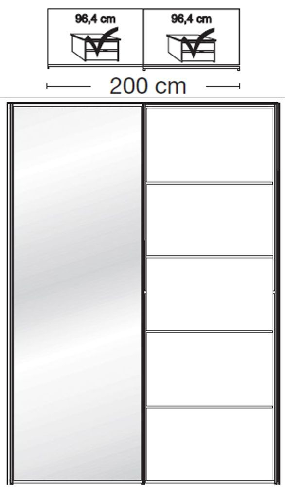 Wiemann VIP Westside2 2 Door 1 Left Mirror 5 Panel Sliding Wardrobe in White - W 200cm D 67cm