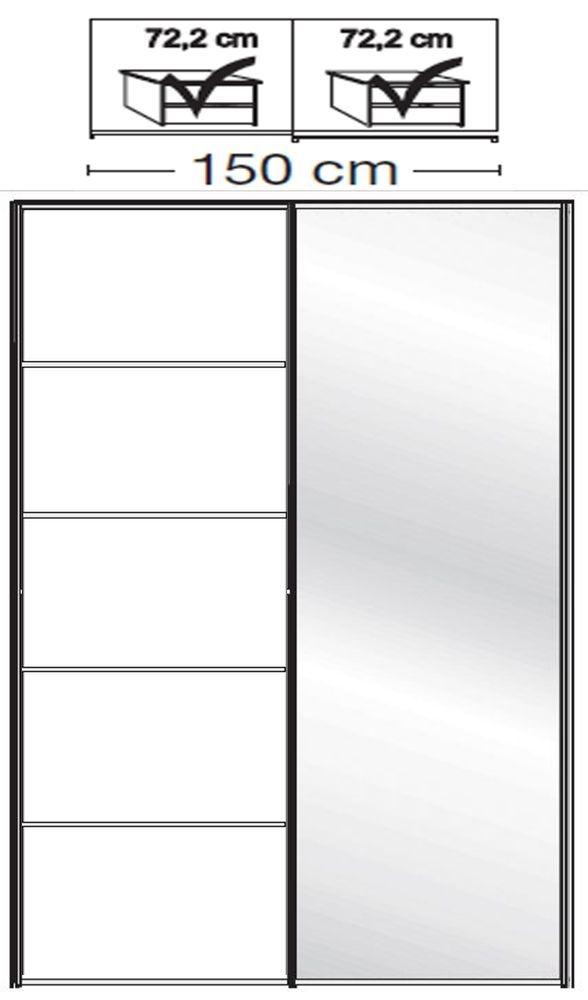 Wiemann VIP Westside2 2 Door 1 Right Mirror 5 Panel Sliding Wardrobe in White - W 150cm D 79cm