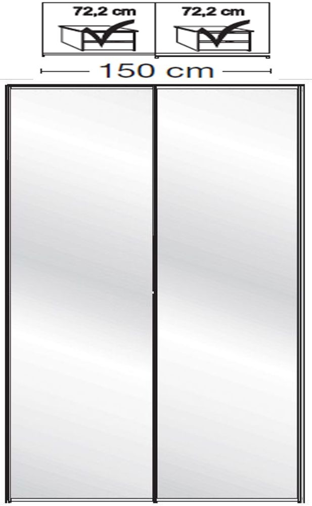 Wiemann VIP Westside2 2 Mirror Door 5 Panel Sliding Wardrobe in White - W 150cm D 79cm