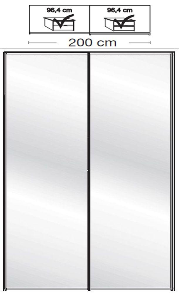 Wiemann VIP Westside2 2 Mirror Door 5 Panel Sliding Wardrobe in White - W 200cm D 79cm