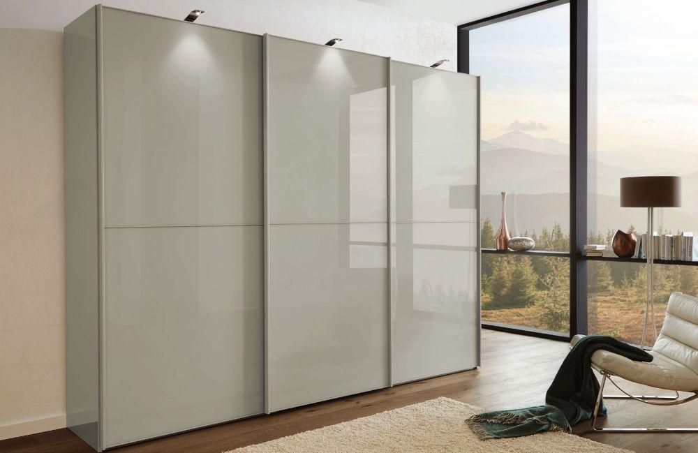 Wiemann VIP Westside2 3 Door 1 Glass 2 Panel Sliding Wardrobe in Pebble Grey - W 225cm D 67cm