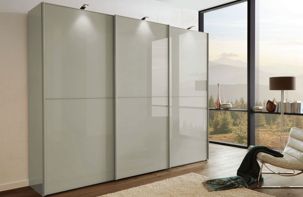 Wiemann VIP Westside2 3 Door 1 Glass 2 Panel Sliding Wardrobe in Pebble Grey - W 225cm D 79cm